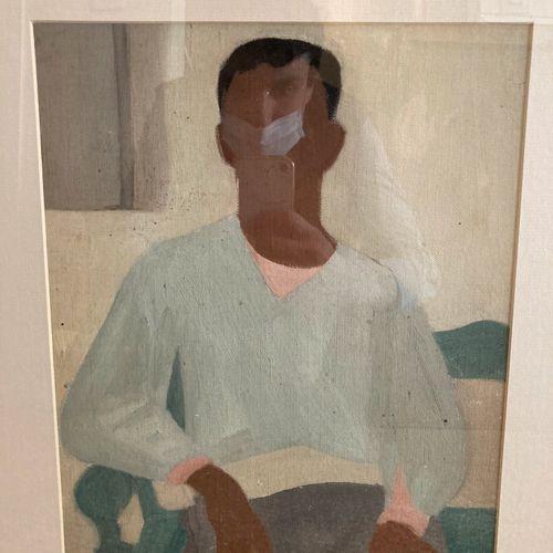 Portrait d'homme assis  Huile sur toile contre collée sur carton  35 x 25 cm à v…