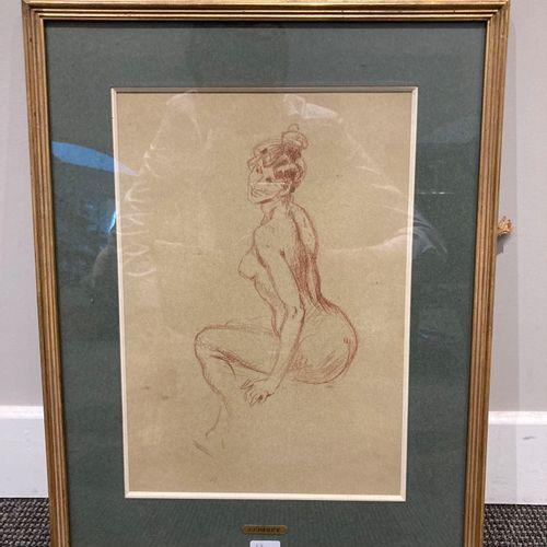 Sanguine dans un cadre en bois doré, Nu féminin de trois quart  33 cm x 23 cm  L…