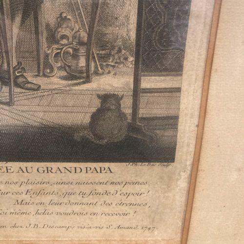 Lot comprenant un miroir dans un cadre en bois doré, on y joint une gravure enca…