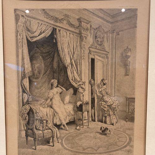 """Deux gravures encadrées """"Visite attendue"""" et """"Visite inattendue""""  33 x 26 cm  Lo…"""