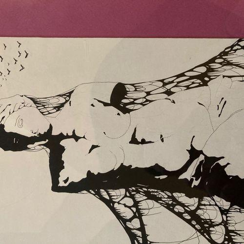Lithographie moderne représentant une sculpture féminine signé Lot ou Lob 86 en …