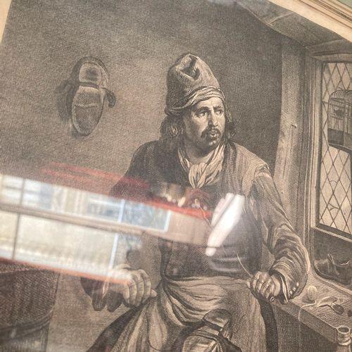 Lot de deux gravures en noir encadrées représentant un cordonnier (32 x 25,5) et…