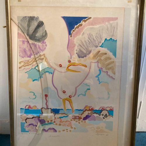 Charles LAPICQUE  Les Mouettes, 1960  Lithographie, épreuve d'artiste. Tâches, s…