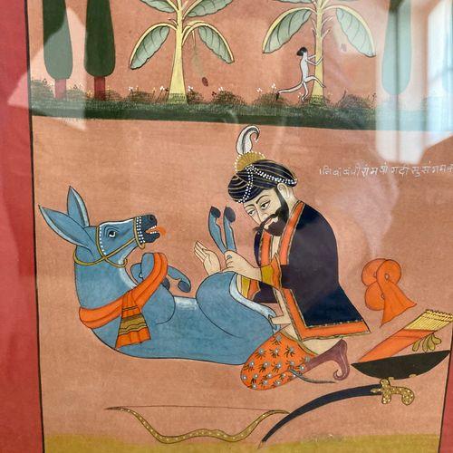 """Miniature érotique dans le goût des miniatures indiennes  inscrite au dos """"Navak…"""