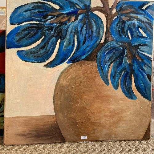 Anne Marie Bodson (née en 1937)  Vase aux fleurs bleues  Peinture acrylique sur …
