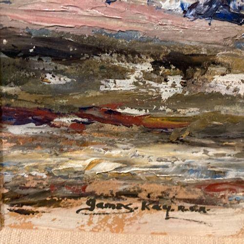 Bords de mer  Huile sur carton portant signature en bas à gauche James. Kay S.W.…