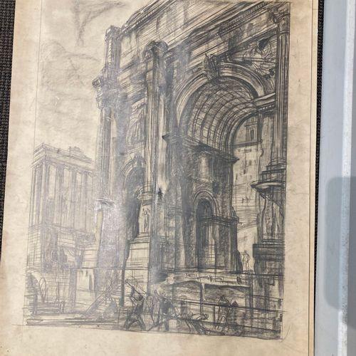 André MAIRE (1898 1984).  Italie, études d'architecture  Deux dessins au crayon …