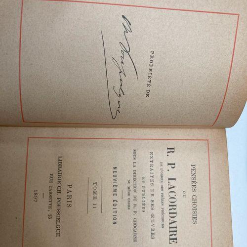 R.P. LACORDAIRE. Pensées choisies. Paris, Poussielgue, 1897. 2 vol. In 18 ou in …