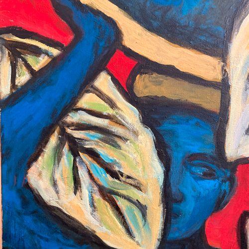 Anne Marie Bodson (née en 1937)  Jeune homme caché derrière les arbres  Peinture…