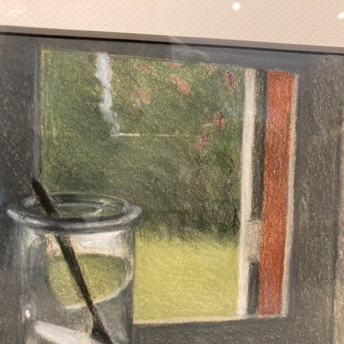 Annie SALLARD (1935 2007)  Nature morte à la fenêtre  22 cm x 31 cm  Lot vendu e…