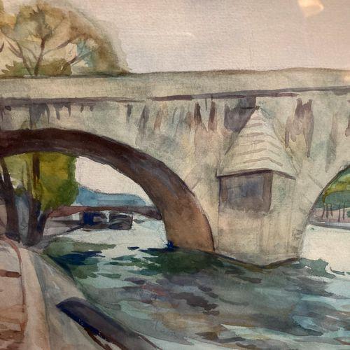 Le pont Royal  Aquarelle portant signature A. Fidrit en bas à droite  23.5 x 32 …