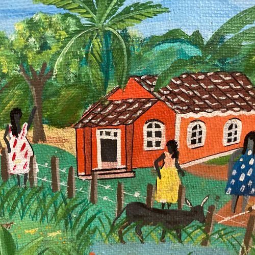 Petite peinture Haïtienne, signé en bas à droite Mirimha (?) L = 18 x H = 15.5 c…