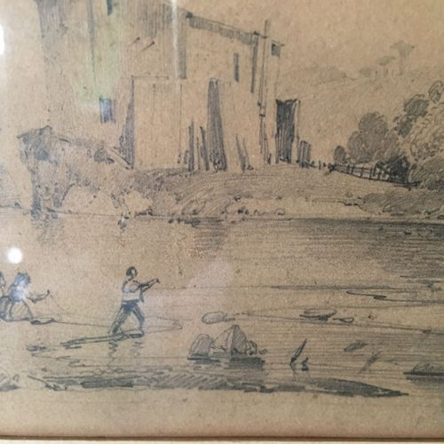 Ecole FRANCAISE, 1830  Pêcheurs près d un pont à tour  Crayon noir. Porte une in…