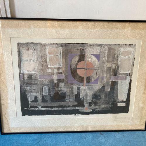 Jean Marie LEDANNOIS (1940 )  Composition géométrique encadrée  Gouache  45,5 x …