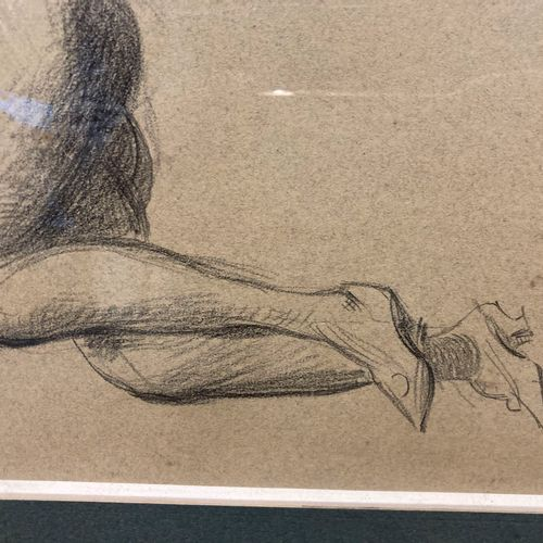Dessin pierre noire et crayon blanc dans un cadre en bois doré, Nu féminin  23 x…