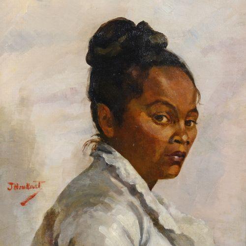 ECOLE XIXe J. HENKART (?)  Portrait de femme des îles  Huile sur toile, signée v…