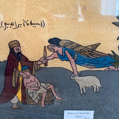 Deux fixés sous verre, le valeureux guerrier et le Sacrifice d'Isaac  26 x 20 cm…