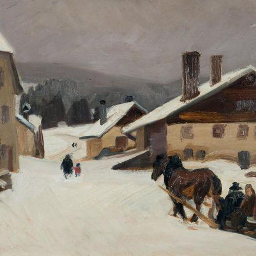 Jules Émile ZINGG (1882 1942) La place du Russey Huile sur panneau, signée en ba…