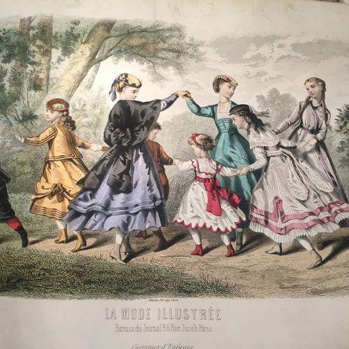 Lots de gravures de mode en couleur, XIXe siècle. La MODE ILLUSTREE, vers 1868. …