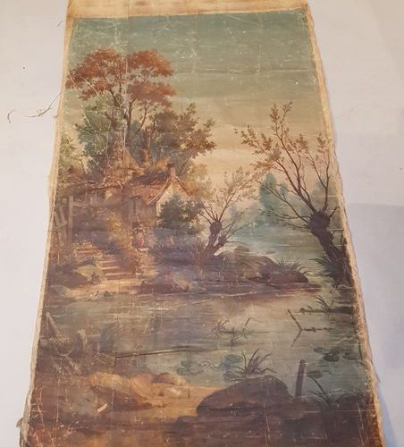 Toile peinte pour carton de tapisserie, paysage campagnard de style XVIIe, fin d…