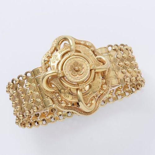 Bracelet en or 750 millièmes finement ciselé, décoré d'un motif de noeud polylob…