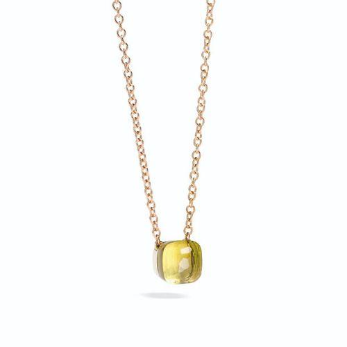 Pendentif Pomellato Nudo Pendentif avec lemon quartz et chaîne en or rose Nudo L…