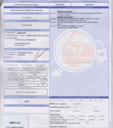 CHEVROLET SSR 5.3 L V8 CHEVROLET USA CHEVROLET SSR 5.3 V8 PICK UP   de mars 200…