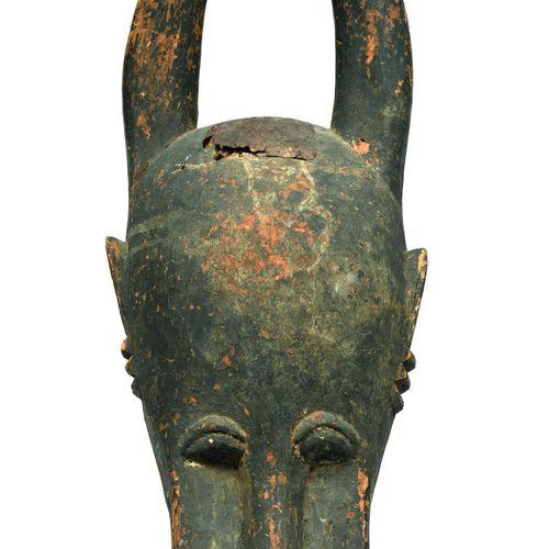 """Baoulé (Côte d'Ivoire) Masque heaume """" GULI """" Bois / Métal 20ème 1ère période"""