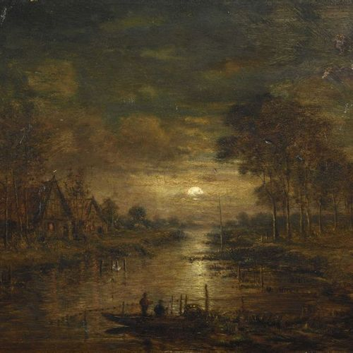 16 Aert van der NEER (Amsterdam, 1603 1677), dans le goût de Pêcheurs au crépusc…