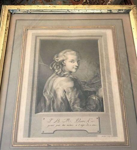 Jean Baptiste Marie PIERRE (1713/14 1789) Autoportrait Lithographie ou gravure e…
