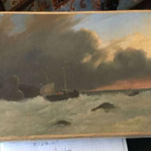 Ecole du XIXème siècle Marine – côte anglaise Huile sur toile 24,5x32cm