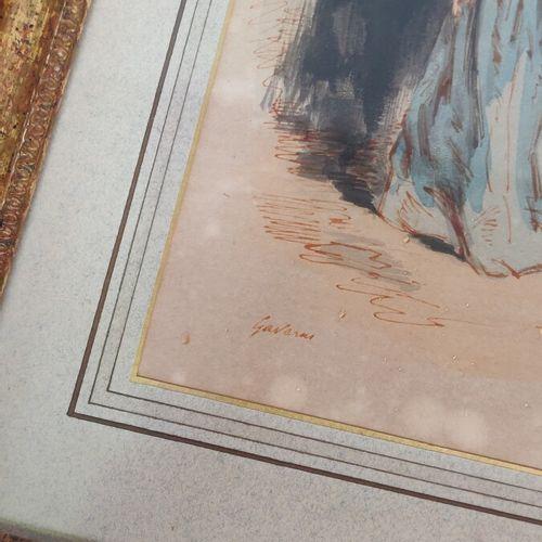 GAVARNI  «Homme» et «Femme»  Deux aquarelles, signées.  27 x 17 cm chaque à …