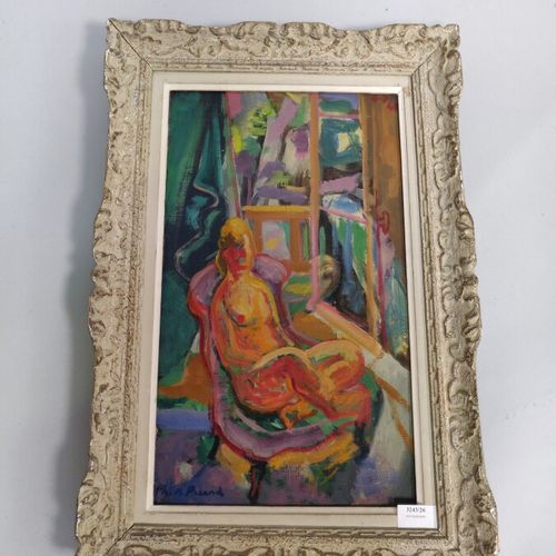 Ph. M. PICARD  «Femme assise »  Toile, goût cubiste.  46 x 27 cm