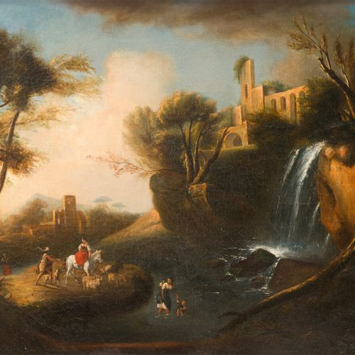 Ecole française du XIXe siècle  Paysage de ruines à la cascade, animé de personn…