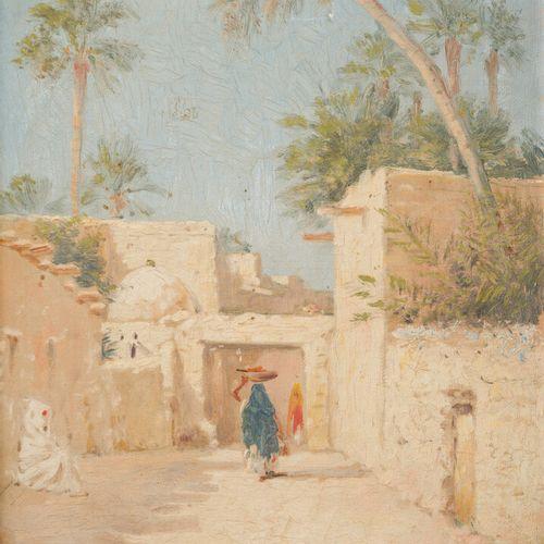 Emile BOIVIN (1846 1920)  Village en Afrique du Nord.  Toile.