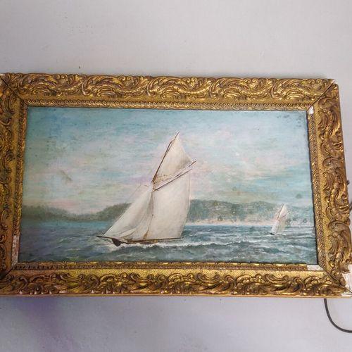 «Bateau»  Huile sur toile signée en bas à droite.  Taches.  27 x 46 cm