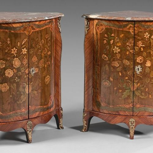 Pair of curved front corners opening on two leaves with rich decoration inlaid w…