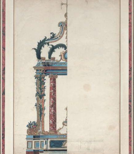 ÉCOLE FRANÇAISE de la fin du XVIIe siècle Left side of an altar project Gouache.…
