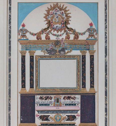 ÉCOLE FRANÇAISE de la fin du XVIIe siècle Altar project Gouache and gold 55 x 37…