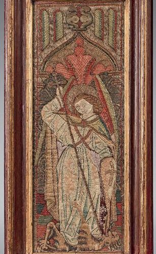"""Three orphreys in """"opus anglicanum"""" embroidered with a Saint George, a Saint Joh…"""