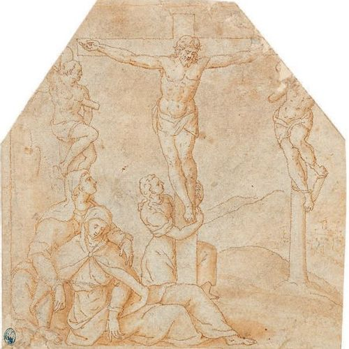 École ITALIENNE du XVIe siècle Christ on the Cross, the Virgin and St. John Feat…