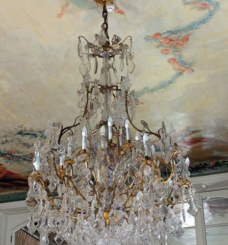 Very large gilt bronze chandelier with thirty two lights on three rows, decorate…