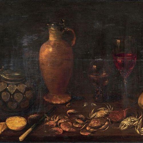 École Flamande du XVIIe siècle Still life, pitchers, glasses, shellfish and frui…