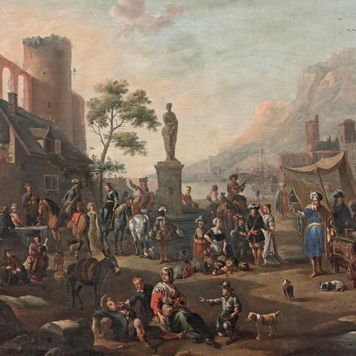 Entourage d'Antoine GOUBAU (1616 1698) Market scene in front of a port in Italy,…