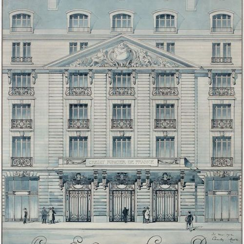 Charles MEWES (1858 1914) Entrance door on rue Cambon, details Watercolour, sign…