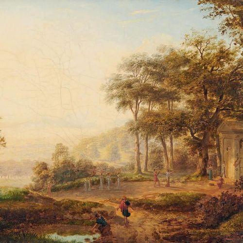 École FRANÇAISE de la fin du XVIIIe siècle Animated landscape of a procession to…