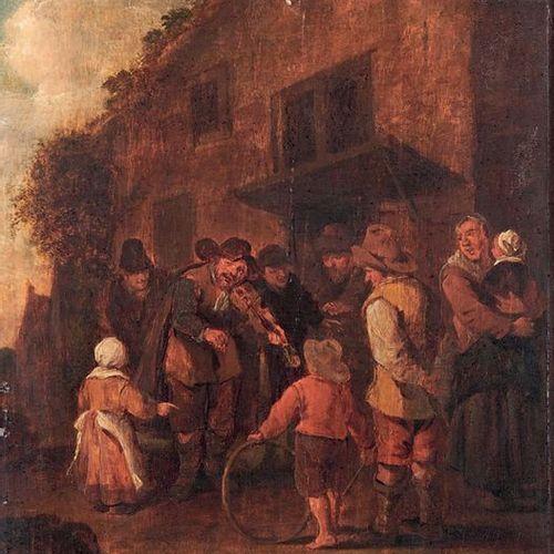 ÉCOLE FLAMANDE du XVIIIe siècle, dans le goût de Van OSTADE The violinist Oil on…