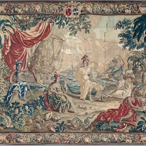 """Tapestry in wool and silk representing the America of the """"Tapestry of the Conti…"""
