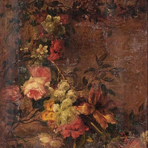 Ecole Flamande du XVIIIe siècle Garland of flowers Oil on canvas, re canvasted. …