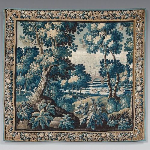 """Tapestry """"blue greenery"""" decorated with a landscape with aristolochs, birds in a…"""
